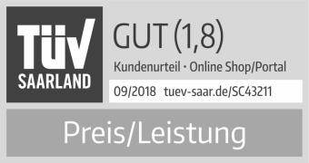 TÜV geprüfte Preis-Leistung Note 1,8
